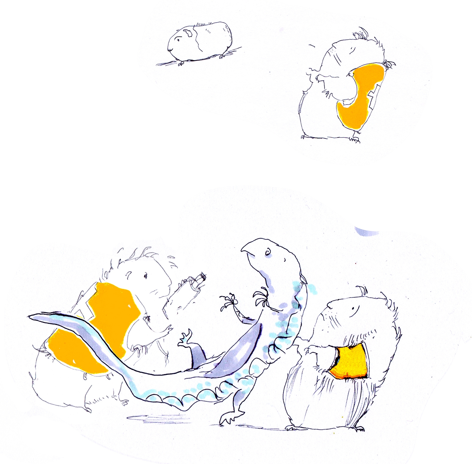 sketch foe Bill and the guinea pigs where the guinea pigs are wearing anbulance hi-viz jackets