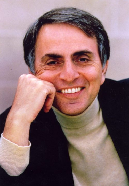 A photograph of Carl Sagan. he is resting his face on his hand and smiling.